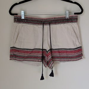 Embroidered LOFT Linen Shorts